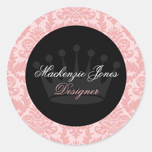 Mackenzie Pink & Black Damask Chic Round Sticker