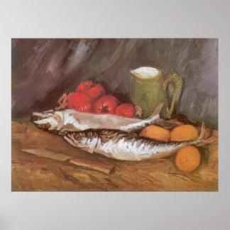 Mackerels, Lemons and Tomatoes by Vincent van Gogh Poster