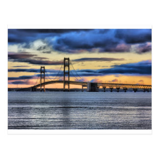 Mackinac  Bridge 1155 Blue Postcard
