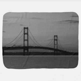 Mackinac Bridge At Dusk Grayscale Baby Blanket