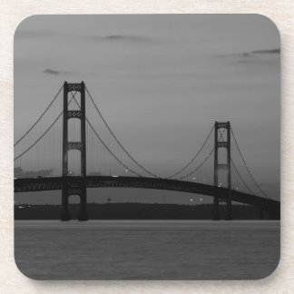 Mackinac Bridge At Dusk Grayscale Coaster