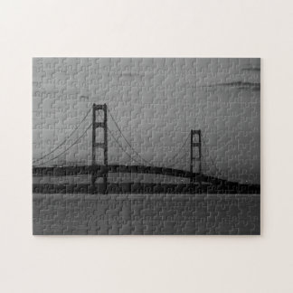Mackinac Bridge At Dusk Grayscale Jigsaw Puzzle