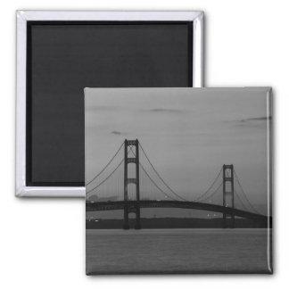 Mackinac Bridge At Dusk Grayscale Magnet