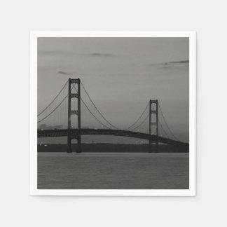 Mackinac Bridge At Dusk Grayscale Paper Napkins