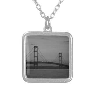 Mackinac Bridge At Dusk Grayscale Silver Plated Necklace