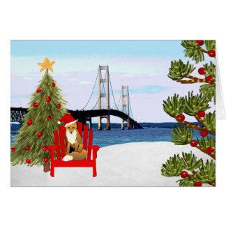 Mackinac Bridge Christmas Card with Beach Chair