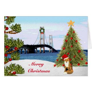 Mackinac Bridge Christmas Card with Fox