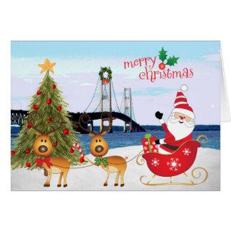 Mackinac Bridge Christmas Card with Santa, Sleigh,