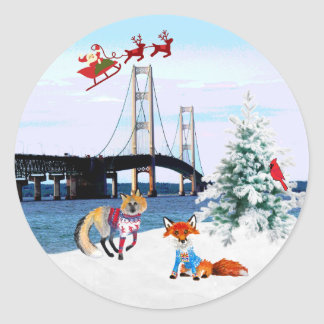 Mackinac Bridge Christmas Sticker