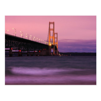 Mackinac Bridge Dusk Postcard