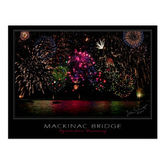 Mackinac Bridge Fireworks Postcard