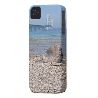 Mackinac Bridge With Rock iPhone 4 Cover
