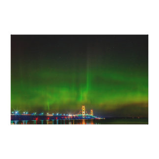 Mackinac Bridge with the Northern Lights Canvas Print