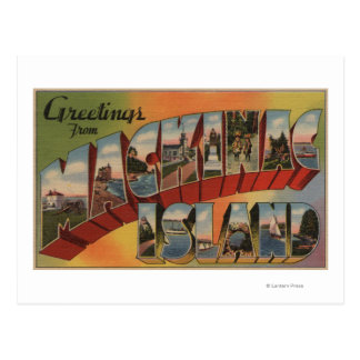 Mackinac, Michigan - Large Letter Scenes Postcard