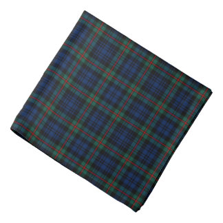 MacKinlay Clan Tartan Dark Blue and Black Plaid Bandana