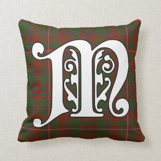 MacKinnon Clan Tartan Monogram Throw Pillow