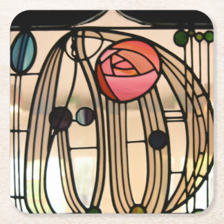 Mackintosh - Stained Glass Window Square Paper Coaster