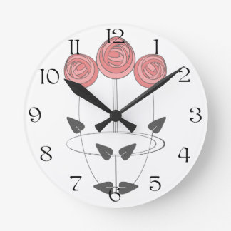 Mackintosh Style Roses in Pinks and Greys Round Clock