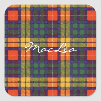 MacLea clan Plaid Scottish kilt tartan Square Sticker