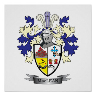 MacLean Family Crest Coat of Arms Poster