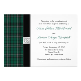 MacLean Modern Hunting Tartan Wedding Invitation