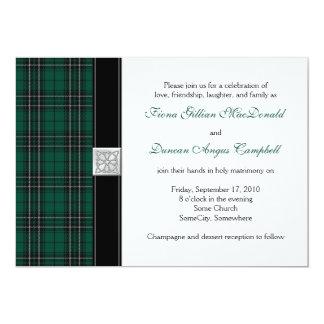"MacLean Modern Hunting Tartan Wedding Invitation 5"" X 7"" Invitation Card"