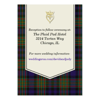 MacLellan Plaid Wedding Enclosure Card Pack Of Chubby Business Cards