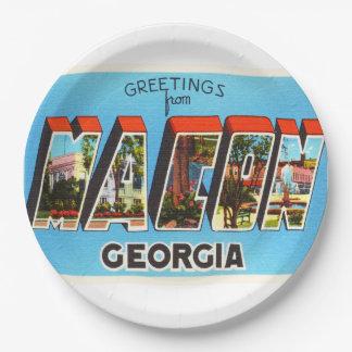 Macon Georgia GA Old Vintage Travel Souvenir 9 Inch Paper Plate