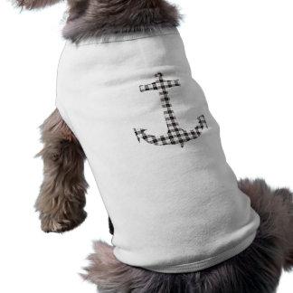 Macpherson Tartan Plaid Anchor Sleeveless Dog Shirt