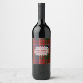 MacRae Tartan Plaid Wedding Wine Label