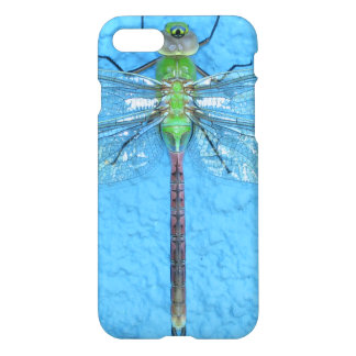 Macro Green Dragonfly on Blue Background iPhone 7 Case