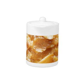 Macro of almond splitters on a cake