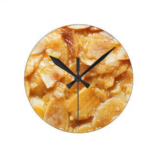 Macro of almond splitters on a cake clocks