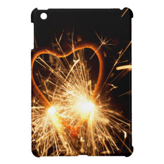 Macro photo of a burning sparkler in form of a hea iPad mini covers