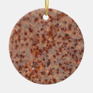 Macro photo of a rusty iron sheet. round ceramic decoration