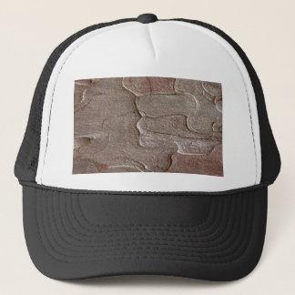 Macro photo of pine bark trucker hat