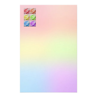 Macro Rainbow Roses Personalised Stationery