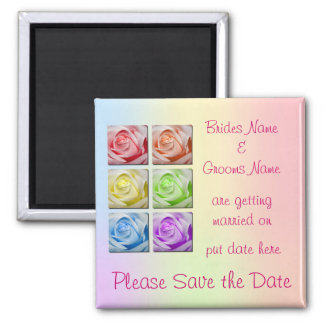 Macro Rainbow Roses Wedding Save The Date Magnet