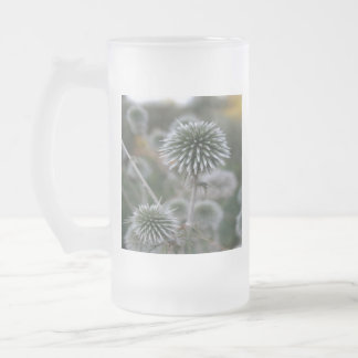 Macro Seed Head of Round Headed Garlic Frosted Glass Beer Mug