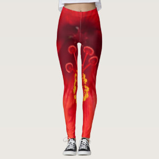 Macro shot of a red hibiscus on leggings