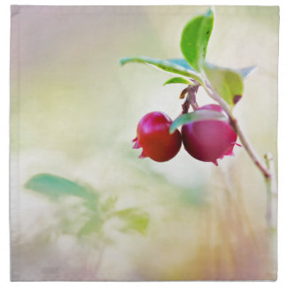 Macro shot of cowberry growing in forest. napkin