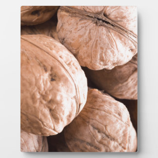 Macro view of a group of old walnuts plaque