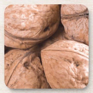 Macro view of a group of walnuts coaster