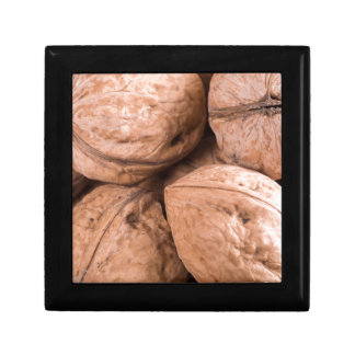 Macro view of a group of walnuts gift box