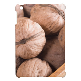Macro view of a group of walnuts in a wooden box iPad mini covers