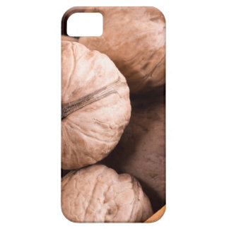 Macro view of a group of walnuts in a wooden box iPhone 5 case