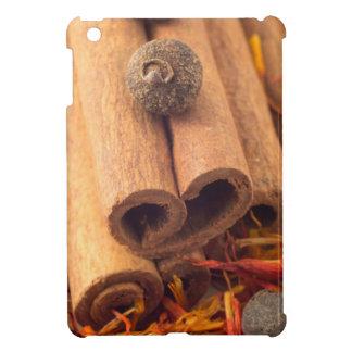 Macro view of the cinnamone, peppercorn and saffro case for the iPad mini