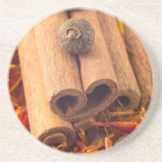 Macro view of the cinnamone, peppercorn and saffro coaster