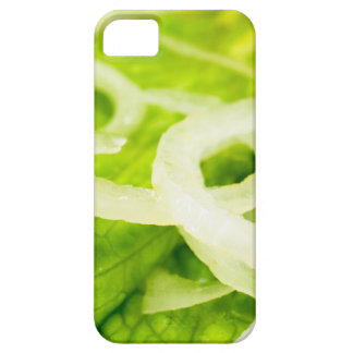 Macro view of the leaves of lettuce and onion ring iPhone 5 covers