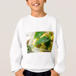 Macro view of the olives with green leaves closeup sweatshirt
